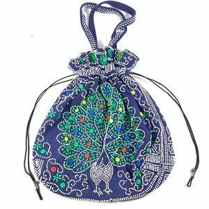Vintage Beaded Peacock Drawstring Handle Bag